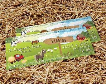 50 Farm Animal Country Farmfest Wedding Ticket Invitations!