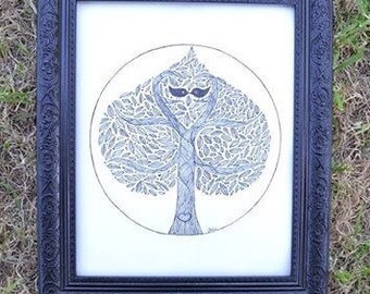 Spring Tree Wall Art Print of Original Ink Drawing - Limited Edition Signed Illustration