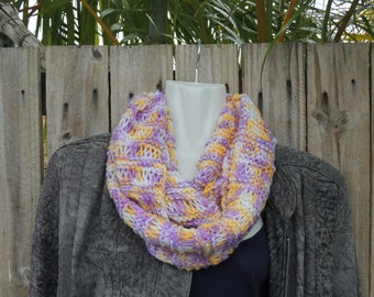 Hand knitted cowl. Infinity scarf. Circular scarf.  Winter scarf. fashion accessory. Womans scarf. Ladies Scarves. marigold.