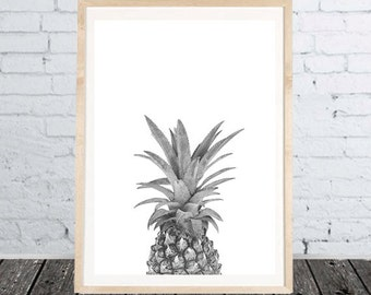 Print Ananas Pineapple digital Download black white gift decoration wall art