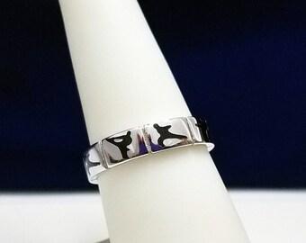 Martial Arts Silver Band Ring - R49
