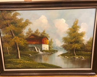 Vintage Barn oil painting Watermill River Fall by Robert More
