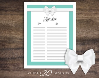 Instant Download Aqua Baby Shower Gift List, Classic Blue and White Bow Baby Shower Registry for Girl or Boy, Teal Baby Shower Checklist 53A