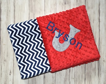 Chevron Minky Monogrammed Baby Blanket, Navy Blue and Red Baby Boy Blanket With Name, Personalized Baby Blanket Newborn, Zig Zag, Receiving