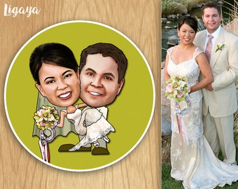 100 Custom Caricature Wedding Favor Labels - 2 Inch Round