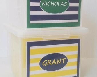 Sibling Bundle 2 -  School Memory Box, School Keepsake Box, School Work Organizer, School Organizer, School Paper Storage  -PDF Download