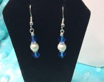 Freshwater Pearl and Sapphire Swarovski Crystal Earrings