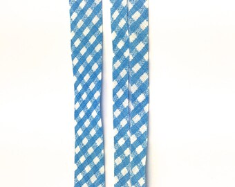 5 m lined polycotton gingham blue and white 20mm