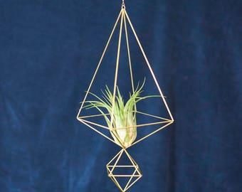 Luftpflanze Pflanzenhänger Himmeli Double No03   Pflanzenampel   Messing Mobile   Blumenampel   gold geom deko   Geschenkidee DO03