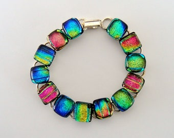 Dichroic Glass Bright Bracelet Pinks Blues Golds with Clear Topper Glass Dichroic Fused Glass Spring Bracelet on Silver Tone Links