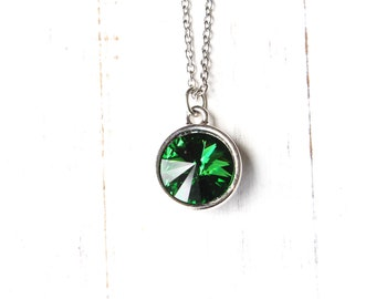 Collier de Rivoli cristal vert, vert et argent Collier, collier de style moderne, collier de demoiselle d'honneur, collier Swarovski vert