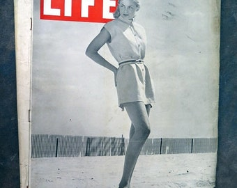 BTS Life Magazine June 17, 1946 Play Dresses/GI's at Havard French Build Dam