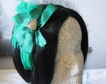 Celtic Heart Headband Fascinator, Irish Green with Filigree Heart, Party, Christmas, New Years, Wedding, Haute Couture, AshTreeMeadows