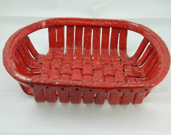 Handmade Ceramic Stoneware Red with White Speckles Bread or Fruit Basket