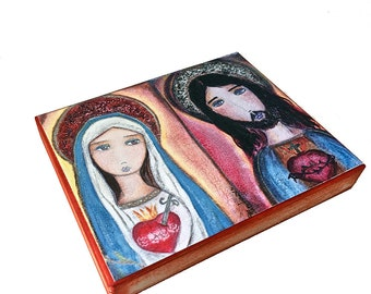 Sacred Hearts Jesus and Mary -  Giclee print mounted on Wood (4 x 5 inches) Folk Art  by FLOR LARIOS
