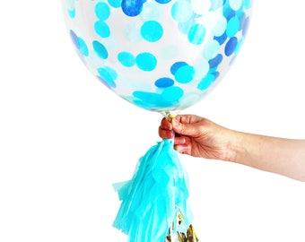 Blue Confetti Balloon Larger 40cm Party Decoration