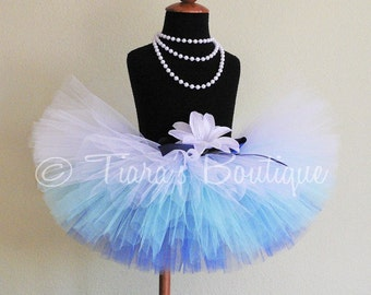 """Blue Ombre Tutu, Sewn Tutu Blue White - Frosted Pond - 8"""" tutu - sizes Newborn to 5T - Snowfall Collection by Tiara's Boutique"""