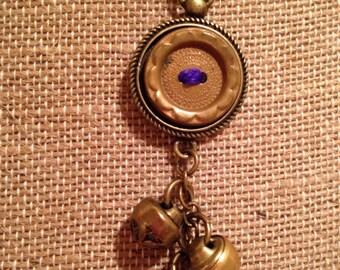 Antique Brass Button Assemblage Pendant