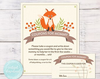 Coupons for Mommy Sign - Woodland Baby Shower - Fox Baby Shower - 0006-N