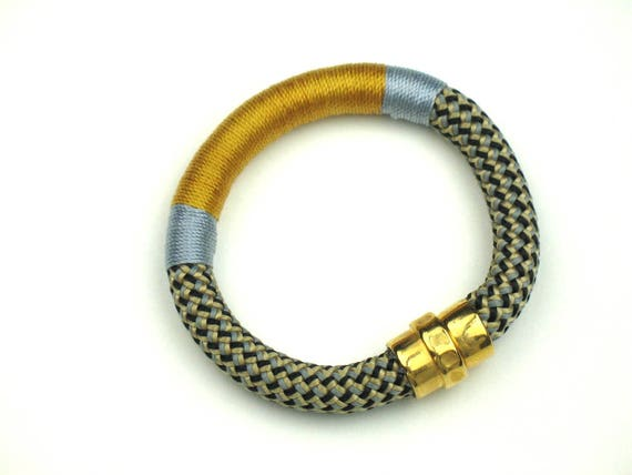 Rope Bracelet in Gold and Blue Wrapped Climbing Cord with Gold Magnetic Clasp, Gift for Women