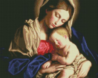 Fine Art Counted Cross Stitch Pattern MADONNA AND CHILD Painting