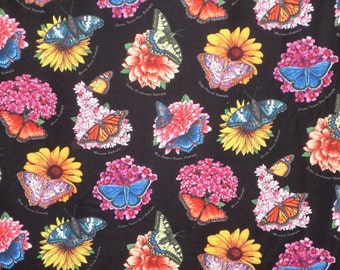 REMNANT--Colorful Butterfly Garden Print Pure Cotton Fabric--1/2 Yard
