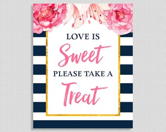 Love Is Sweet Please Take a Treat Shower Sign, Navy & White Stripe Peony Bridal Shower, Favor Sign,  INSTANT PRINTABLE