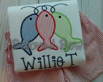String of Fish Applique Shirt for Boys, Monogrammed Fish Shirt, Personalized Beach Shirt, Shirt Only