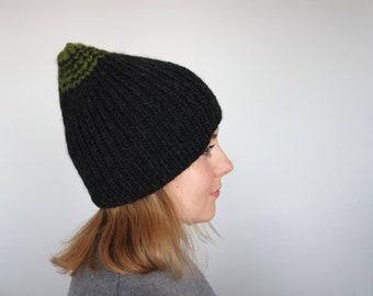 Black Men's hat, Knit black beanie, Wool beanie hat, Men's wool beanie, OOAK Skull Winter Cap, wool chunky hat, Warm wool beanie