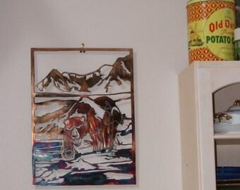Grizzly Bear,Fishing Grizzly Bear,Fishing Bear, Bear Metal Art,Housewarming Gift,Rustic Gift