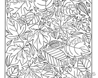 Fall Leaves Coloring Page 2 JPG