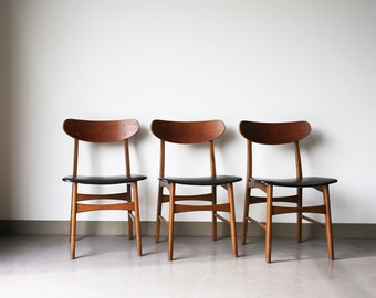Sold *** Set of 3 Mid Century Modern Round Back Side Chairs