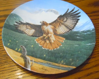 Now marked 20% 0ff.  Collector plate~ Red Tailed Hawk, by Daniel Smith. 1989 Bradford Exchange & Edwin M Knowles. #3195B
