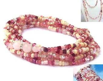 Rose Quartz Wrap Necklace, pink beaded wrap, pink wrap bracelet, gemstone, long, cheese cake, beaded necklace, boho, bohemian, seed beads