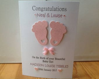 Handmade personalised new baby girl card- personalised with parents names, baby name and date of birth.