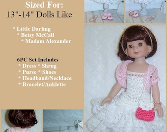 """0102 Little Darling,Betsy McCall,Madame Alexander,Love Gives Pattern,13""""-14"""" Dolls,6Pc Doll Dress Set by CarussDesignZ"""