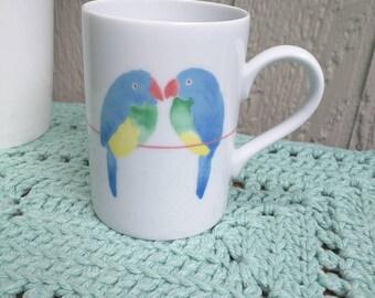 Fitz and Floyd Lovebirds Mug, Porcelain, Made in Japan