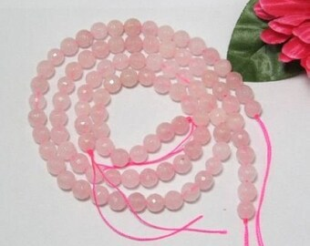 2 Strands Rose Quartz 8mm round faceted Loose Beads