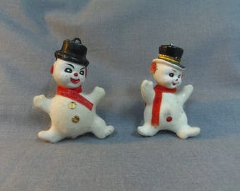 1950s Christmas Ornaments, White Flocked Snowmen (2) with painted eyes, Blow Mold Plastic, Christmas Decor, Holiday Decor