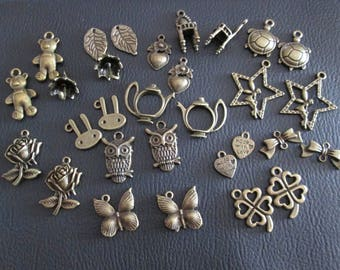 set of 30 charms brass set # A