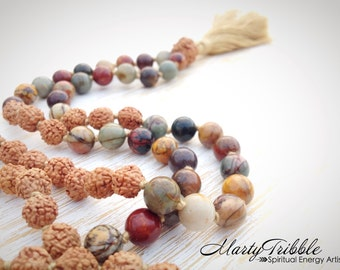 LAST ONE // Mala Necklace, 108 Mala Beads, Mala Beads Necklace, Jasper Mala Beads 108, Rudraksha Necklace, Prayer Beads, Rudraksha Mala