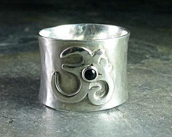 Ohm-Ring, Ring Meditation, yogaschmuck, Zen Schmuck, Breitband-Sterling-Silber - friedvollen Geist