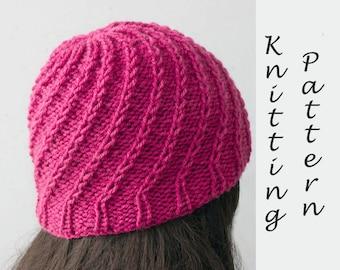 Spiral Hat Knitting Pattern,  Knit Hat PDF Pattern, Winter Hat Pattern, Instant Download