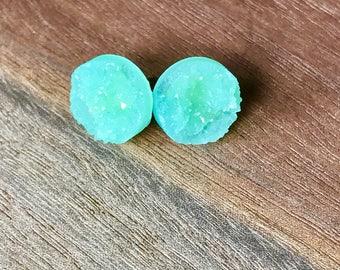 Mint druzy earrings