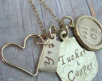 Hand gestempelt Gold gefüllte Halskette Charmed Familie