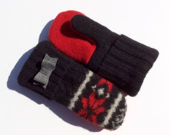 100% Wool Mittens Red, Black and White, Felted Wool Mittens, Fleece Lined Mittens, Gift for Her, Gift under 30