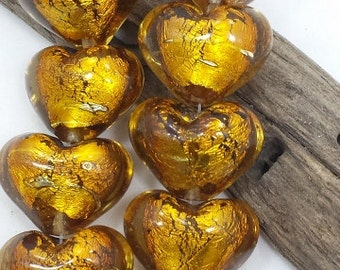 Silver Foil Topaz Glass Heart  Beads, (19 x 24 mm) String of 6