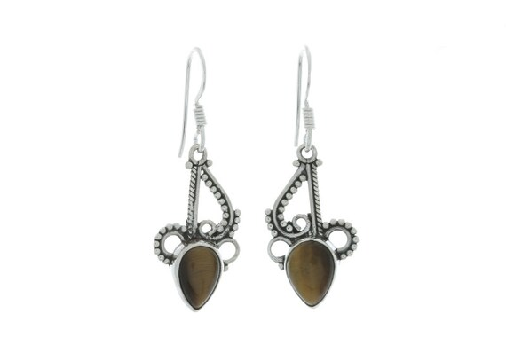 Tigers Eye Earrings, Sterling Silver Tigers Eye Earrings , Ethnic Earrings, Tribal
