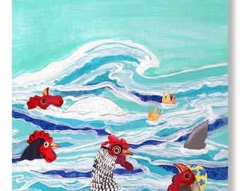 Chicken Dipping - Artwork by Christina Rowe - 8x10 Chicken Art Print - Mangoseed