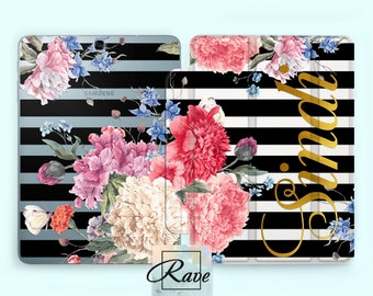 Peony Flowers Tab s2 10.1 Tablet case Black stripe Floral Galaxy 8 Personalized cover Tab s3 case Tab a 0.8 case Gold Name print Clear cover